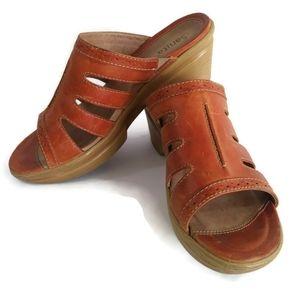 Sanita Nina Brown Leather Slip On Clogs Peekaboo Slide Sandals Size 10.5